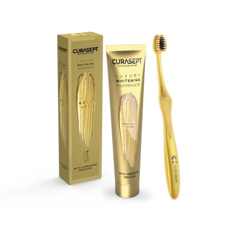 """Curasept Luxury """"Gold Lux"""" balinanti dantų pasta su koloidiniu auksu + dantų šepetėlis"""